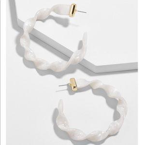 BaubleBar Dalphia Resin Hoop Earrings Ivory NWT